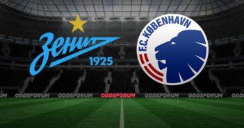 Zenit skt. Petersborg logo og FC København logo på fodboldbane