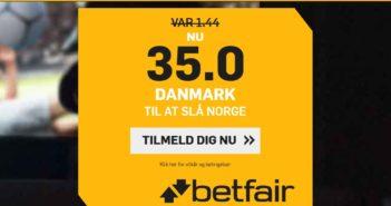 Betfair tilbud til odds 35.00 på danmark mod norge VM håndbold 2019