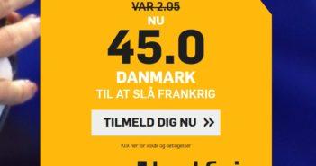 Odds 45.00 på Danmark over Frankrig ved VM i håndbold 2019 fra Betfair